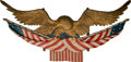 General Americana: , A Large Wooden Patriotic Eagle Carving, circa 1915. 35 inches highx 73 inches wide (88.9 x 185.4 cm). Property from the E...