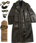 Decorative Arts, Continental:Other , Three Leather and Fur Motoring Trench Coats with Accessories, circa1930 and later. (various dimensions). Property from th... (Total: 4Items)