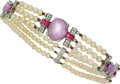 Estate Jewelry:Bracelets, Pink Star Sapphire, Ruby, Diamond, Cultured Pearl, PlatinumBracelet. ...