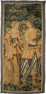 A Flemish Tapestry Fragment Depicting Two Renaissance Courtiers, 18th century and later 76-1/4 inches high x 37-1/