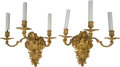 Decorative Arts, French:Lamps & Lighting, A Pair of French Gilt Bronze Three-Light Wall Sconces withBacchanal Motif. 23 inches high x 20 inches wide (58.4 x 50.8cm)... (Total: 2 Items)