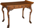 Furniture : English, A George II-Style Carved Fruitwood Table in the Chinoiserie Taste. 28 h x 41 w x 23 d inches (71.1 x 104.1 x 58.4 cm). ...