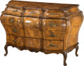 Furniture : Continental, An Italian Rococo-Style Walnut Bombe Commode. 37 h x 49 w x 22 dinches (94.0 x 124.5 x 55.9 cm). ...