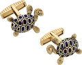 Estate Jewelry:Cufflinks, Diamond, Enamel, Gold Cuff Links, Peter Lindeman. ...