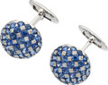 Estate Jewelry:Cufflinks, Sapphire, Diamond, White Gold Cuff Links, Assil. ...