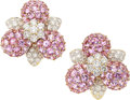 Estate Jewelry:Earrings, Diamond, Pink Sapphire, Gold Earrings. ...