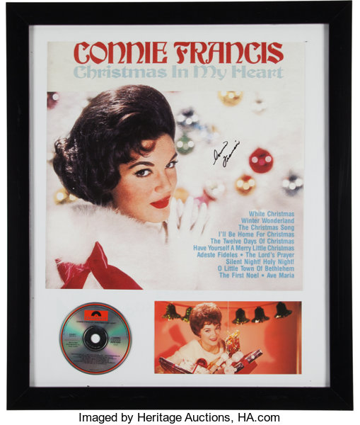 Connie Francis The Twelve Days Of Christmas.A Connie Francis Group Of Miscellaneous Signed And Framed Images