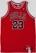 Basketball Collectibles:Uniforms, 1998-99 Michael Jordan UDA Signed Chicago Bulls Jersey....