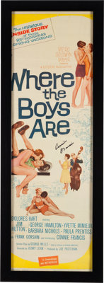 """A Connie Francis Signed Insert Poster from """"Where The Boys Are."""""""