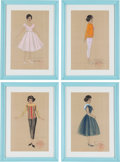 Music Memorabilia:Original Art, A Connie Francis Group of Costume Design Sketches, 1985.... (Total: 4 )