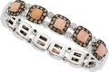 Estate Jewelry:Bracelets, Pink Opal, Colored Diamond, Diamond, White Gold Bracelet. ...