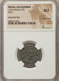 Ancients:Roman Provincial , Ancients: TROAS. Alexandria. Northwest Asia Minor (Turkey), nearTroy. 3rd century AD. AE As. NGC AU, smoothing, adjusted flan....