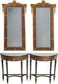 Furniture : French, A Pair of Louis XVI-Style Ebonized Wood and Champlevé Mirrors with Matching Demilune Console Tables. 54 inches high (137.2 c... (Total: 2 Items)