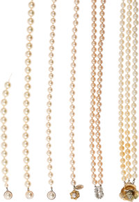 A Connie Francis Collection of Faux Pearl Necklaces with Interesting Clasps, Circa 1960s-1980s