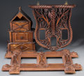 General Americana: , A Tramp Art Carved Wood Picture Frame, Spice Box, and BracketShelf, first half 20th century. 26 inches high x 19 inches wid...(Total: 3 Items)