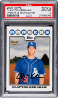 Baseball Cards:Singles (1970-Now), 2008 Topps Update & Highlights Clayton Kershaw #UH240 PSA GemMint 10....