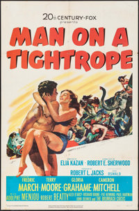 "Man on a Tightrope & Other Lot (20th Century Fox, 1953). One Sheets (2) (27"" X 41""). Drama. ... (Total..."
