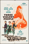 """Movie Posters:Western, Three Violent People & Other Lot (Paramount, 1956). One Sheets (2) (27"""" X 41""""). Western.. ... (Total: 2 Items)"""