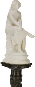 Sculpture, Ferdinando Vicchi (American, 1875-1945). Seated Bather. Marble (with period marble pedestal). 23 inches (58.4 cm) high (... (Total: 2 Items)