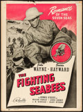 "Movie Posters:War, The Fighting Seabees (Republic, 1944). Trimmed Window Card (14"" X19""). War.. ..."