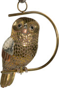 Fine Art - Sculpture, American, Sergio Bustamante (Mexican, b. 1949). Owl. Welded brass andcopper. 17 inches high (43.2 cm). ...