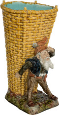 Ceramics & Porcelain, A Large Continental Majolica Figural Walking Cane Stand, late 19th-early 20th century. 24 inches high (61.0 cm). ...