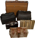 LuxuryAccessory:Travel/Trunk, Six Various Leather Suitcases, Bags, and Briefcase, early 20th century and later. 23-1/4 h x 30 w x 23-1/2 d inches (59.1 x ... (Total: 6 Items)