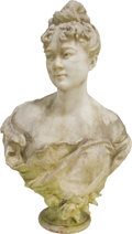 Sculpture, Mathurin Moreau (French, 1822-1912). Bust of a Young Woman. Marble. 30 inches high (76.2 cm) . ...