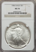 Modern Bullion Coins, 1986 $1 Silver Eagle MS70 NGC. NGC Census: (1651). PCGS Population: (150). Mintage 5,393,005....