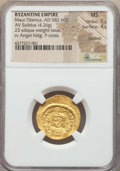 Ancients:Byzantine, Ancients: Maurice Tiberius (AD 582-602). AV light weight solidus of23 siliquae (4.26 gm). NGC MS 5/5 - 4/5, clipped....