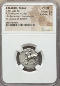 Ancients:Greek, Ancients: CALABRIA. Tarentum. Ca. 272-240 BC. AR stater or didrachm(6.33 gm). NGC Choice XF 5/5 - 4/5. ...