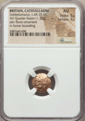 Ancients:Celtic, Ancients: CELTIC BRITAIN. Catuvellauni. Addedomaros (ca. 45-25 BC).AV quarter-stater (1.35 gm). NGC AU 5/5 - 3/5....