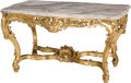 Furniture : French, A Louis XV-Style Carved and Giltwood Salon Table with CarraraMarble Top, 21st century. 29-1/4 h x 54-1/2 w x 34-1/2 d inche...(Total: 2 Items)
