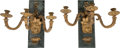 Decorative Arts, French:Lamps & Lighting, A Pair of Empire-Style Gilt Bronze and Verde Marble Three-LightWall Sconces. 18 inches high x 19 inches wide (45.7 x 48.3 c...(Total: 2 Items)