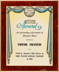 Music Memorabilia:Awards, A Connie Francis 'The Billboard' Award, 1959....