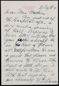 Autographs:Letters, 1952 Ed Barrow Handwritten Signed Letter With Envelope....