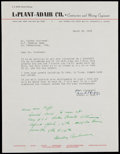 Autographs:Letters, 1955 Mickey Cochrane Signed Letter. ...