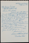 Autographs:Letters, 1957 Wahoo Sam Crawford Handwritten Signed Letter. ...