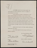 Autographs:Letters, 1934 Billy Evans Signed Typed Agreement....
