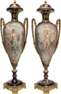 Ceramics & Porcelain, A Large Pair of Sevres-Style Gilt Bronze-Mounted Porcelain Covered Urns, late 19th-early 20th century. Marks to undersides o... (Total: 2 Items)