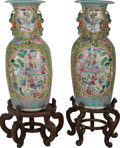 Asian:Chinese, A Pair of Monumental Chinese Porcelain Urns on Stands, circa 1900.39-1/4 inches high (99.7 cm) (vase, each). 52 inches high...(Total: 2 Items)