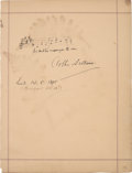 Autographs:Authors, Arthur Sullivan Autographed Musical Quotation Signed....