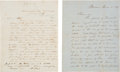 Autographs:U.S. Presidents, [John Q. Adams]. Two Letters Regarding John Quincy Adams' Strokeand Eventual Death.... (Total: 2 Items)