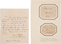 Autographs:Authors, John Frederick William Herschel Autograph Letter Signed, Authenticating Two Book Labels Signed by Frederick William Herschel.... (Total: 2 Items)