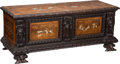 Furniture : Continental, A Continental Carved Oak, Fruitwood, and Bone-Inlaid Cassone Chest,19th century. 20-3/4 h x 52-1/2 w x 20-3/4 d inches (52....