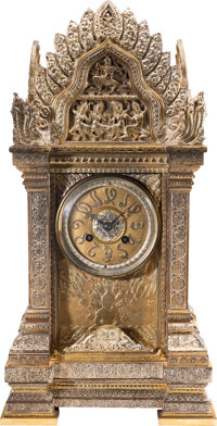 A Connie Francis Anglo-Indian Gilt and Silvered Bronze Clock, Late 19th Century