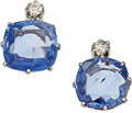 Estate Jewelry:Earrings, Sapphire, Diamond, Platinum-Topped Gold Earrings, French, early20th century. ...