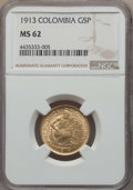 Colombia, Colombia: Republic gold 5 Pesos 1913 MS62 NGC,...
