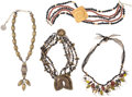 Music Memorabilia:Costumes, A Connie Francis Group of Rustic Necklaces, Circa 1980s.... (Total:4 Items)
