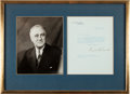 Autographs:U.S. Presidents, Franklin D. Roosevelt Typed Letter Signed...